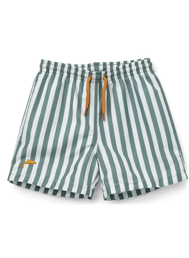 Liewood - Duke board shorts  stiped peppermint/white