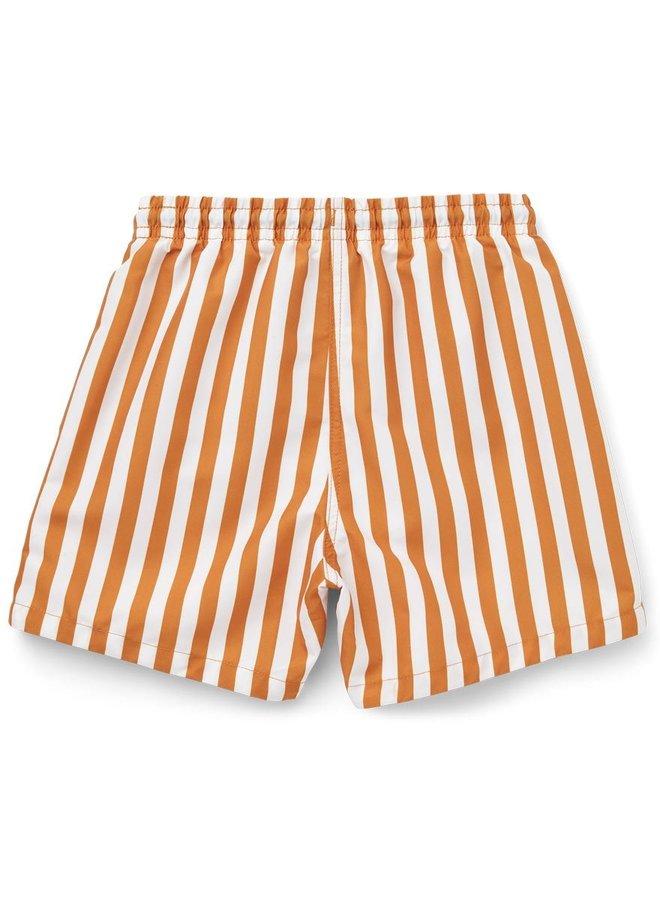 Liewood - Duke board shorts  stiped mustard/white
