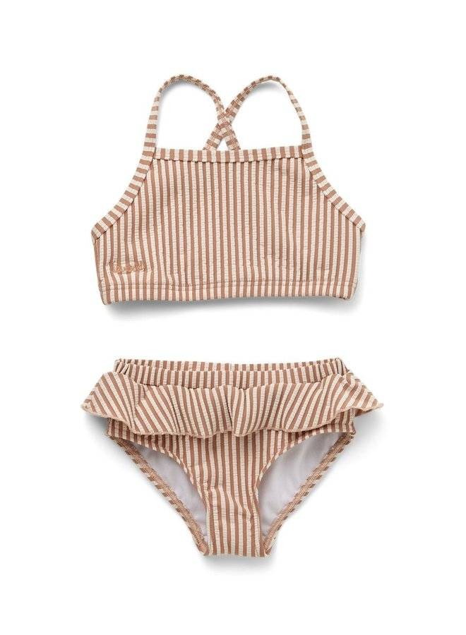 Liewood Norma Bikini Set seersucker - Tuscany rose/sand