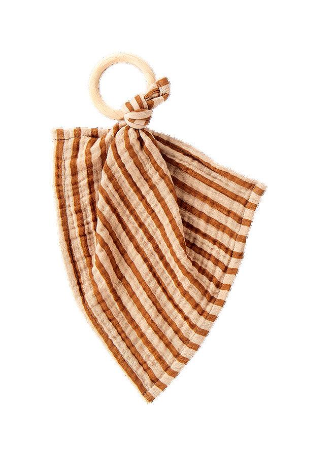 House of Jamie - Teething Swaddle Ring Apple Cider Stripes