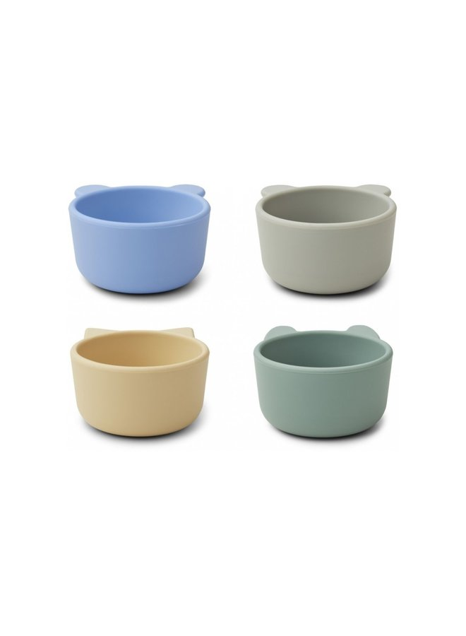 Liewood - Malene silicone bowl 4-pack peppermint multi mix