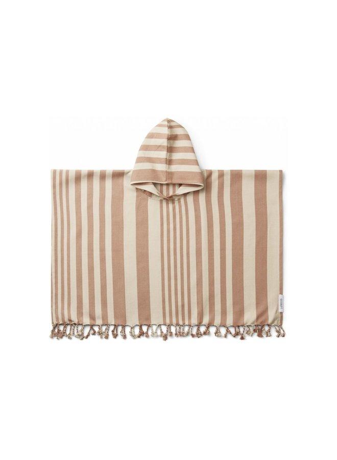 Liewood - Roomie Poncho stripe tuscany rose/sandy