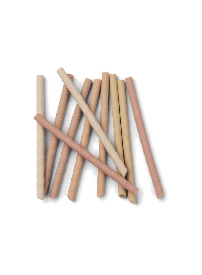 Liewood - Timoti straw set - dark rose multi mix