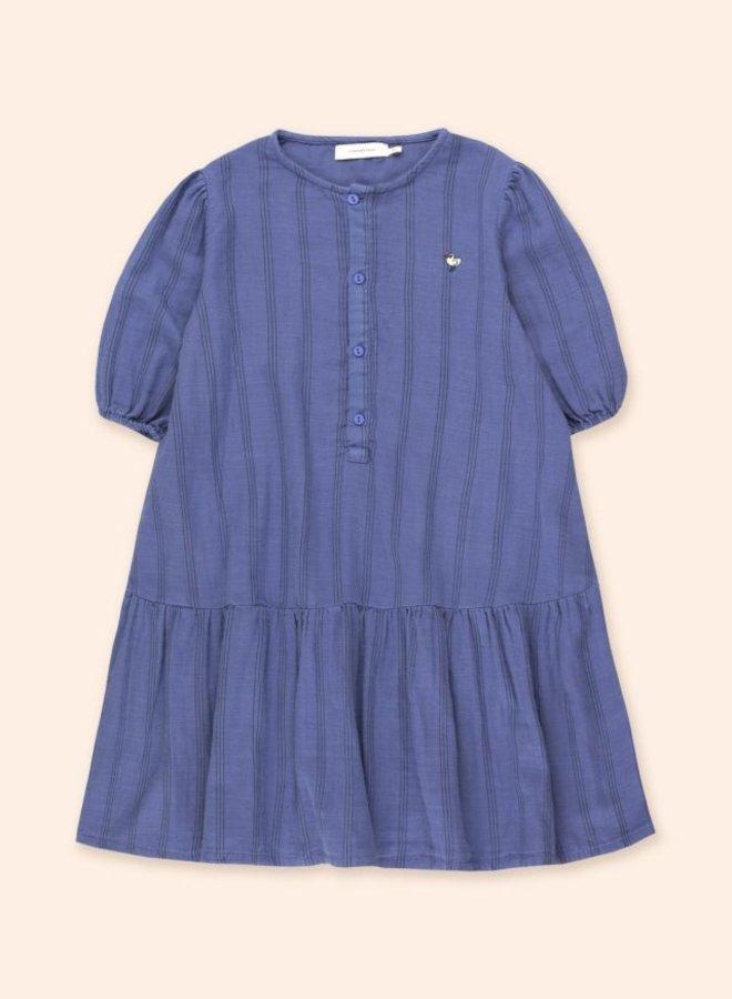 TinyCottons - bird puff dress iris bluye/ink blue