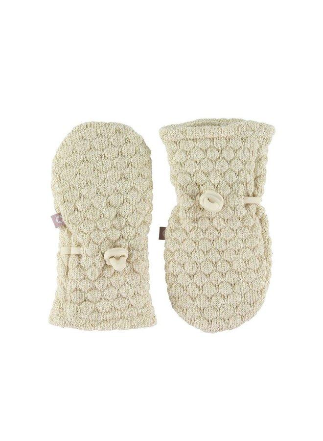 Smallstuff Mittens wool bobbles offwhite/gold