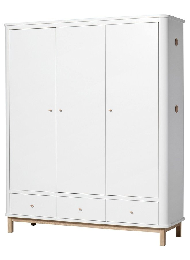 Oliver Furniture Wardrobe 3 doors, white/oak