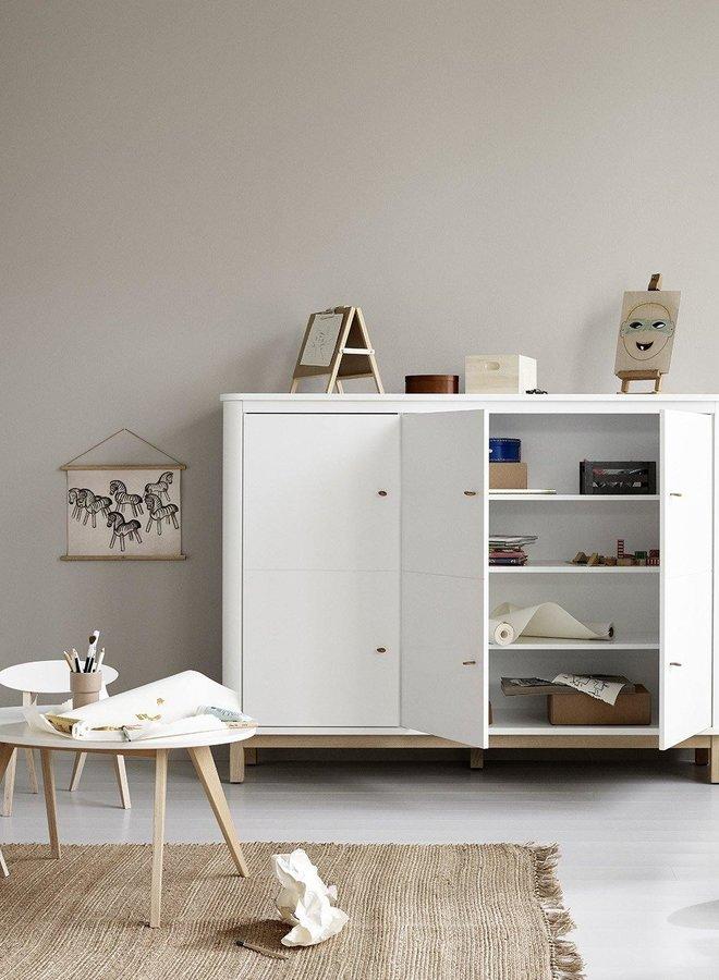 Oliver Furniture Wood Multi cupboard 3 doors, white/oak