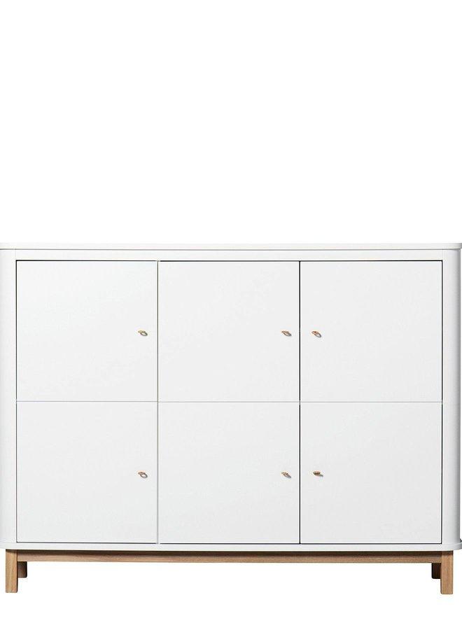 Oliver Furniture Multi cupboard 3 doors, white/oak