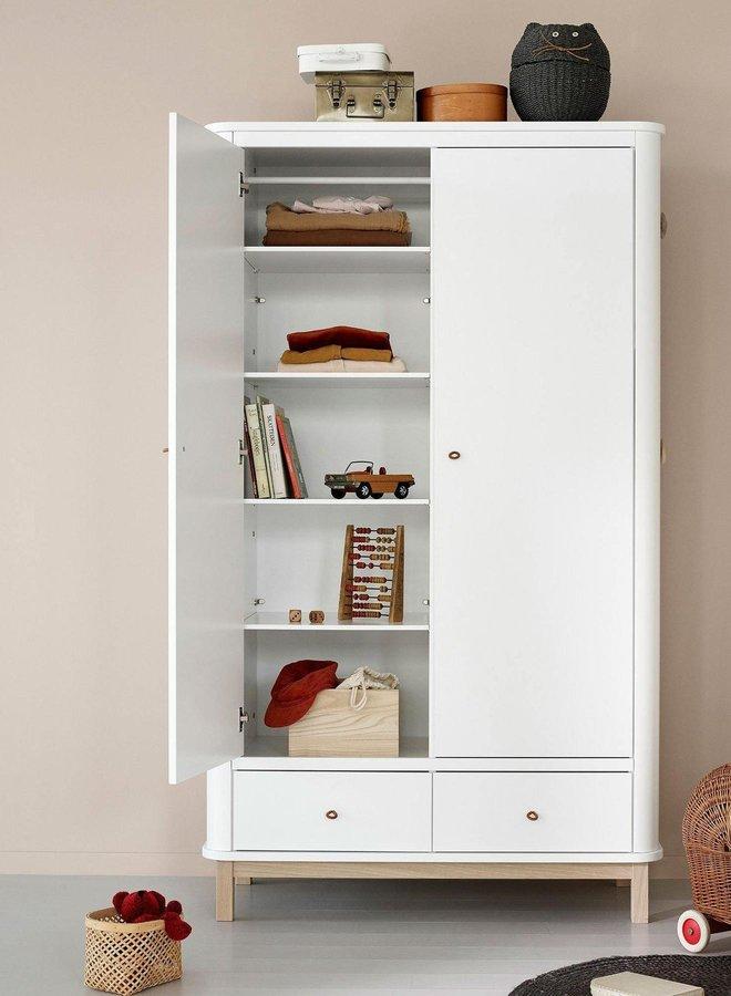 Oliver Furniture Wardrobe 2 doors, white/oak