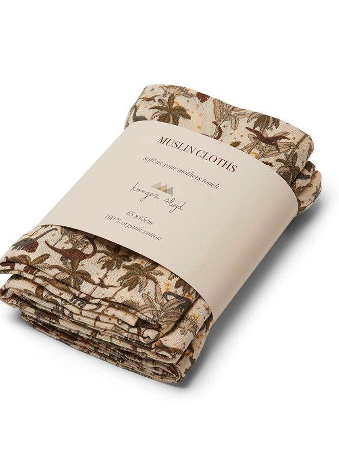 Konges Slojd 3-pack muslin cloth dino