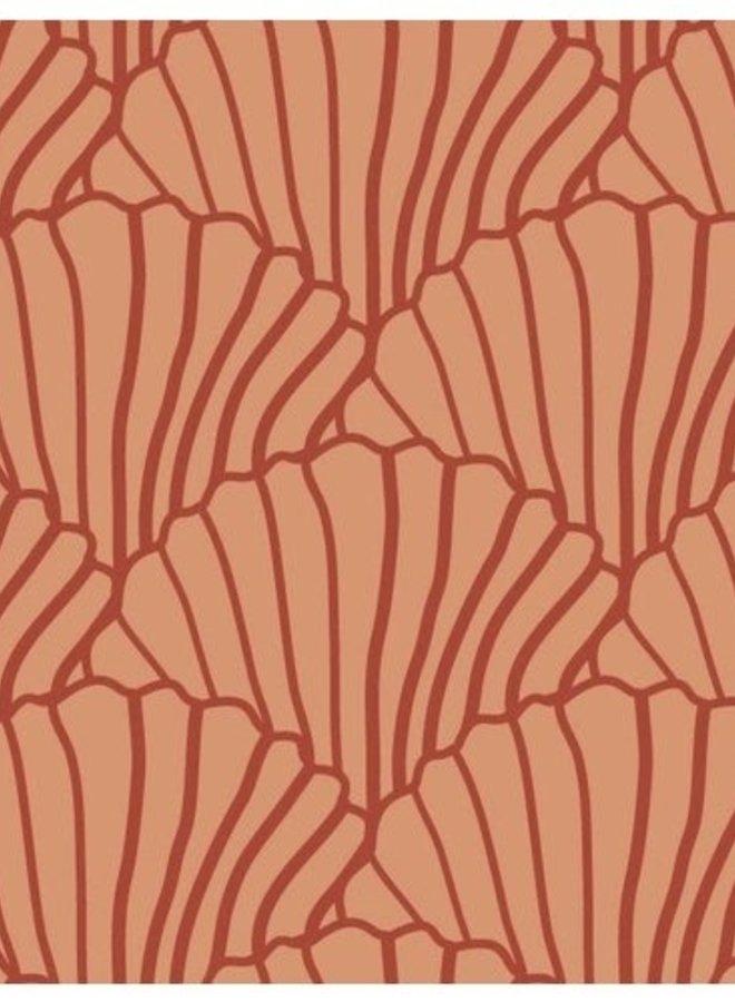 Swedish Linens - seashells terracotta/burgundy