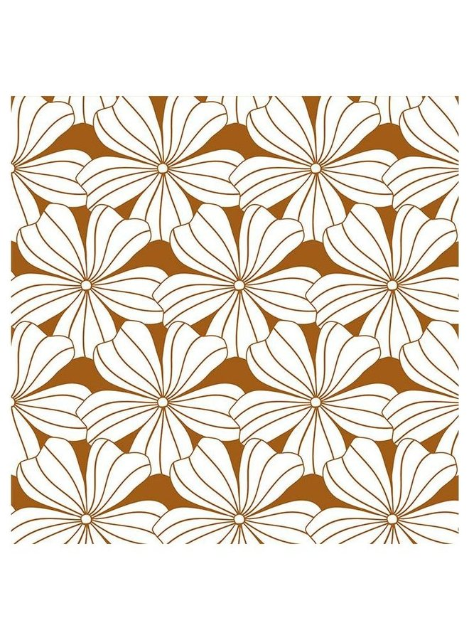 Swedish Linens - flowers cinnamon brown