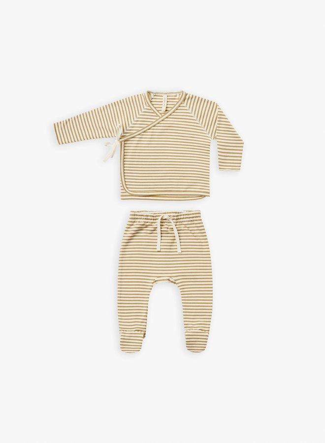 Quincy Mae - kimono top + fooded pant set gold-stripe