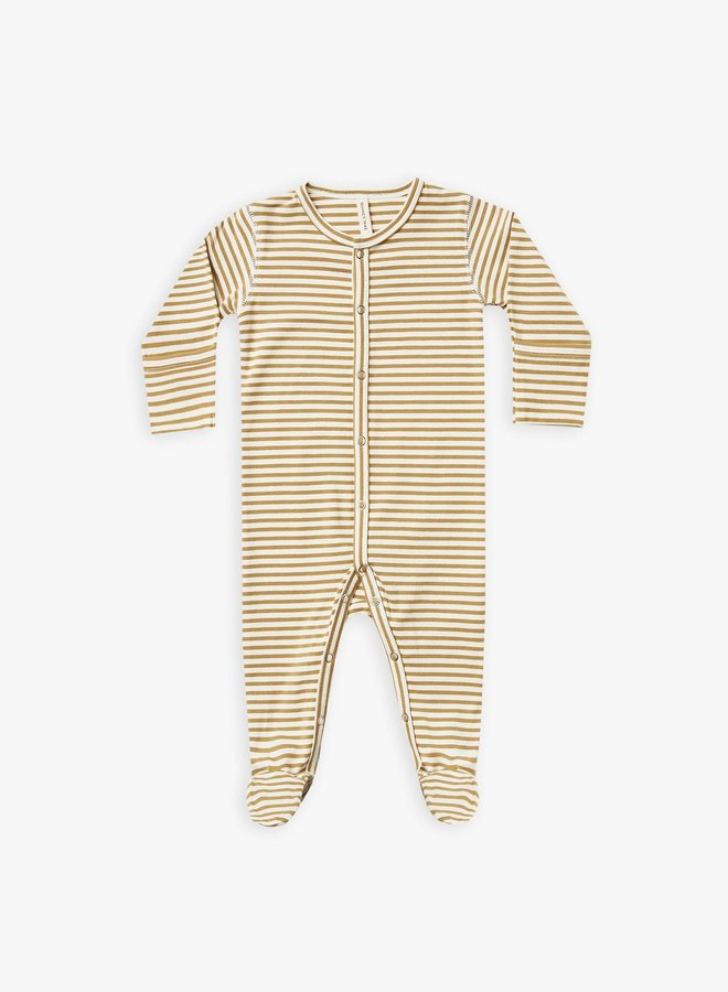 Quincy Mae - full snap footie gold-stripe