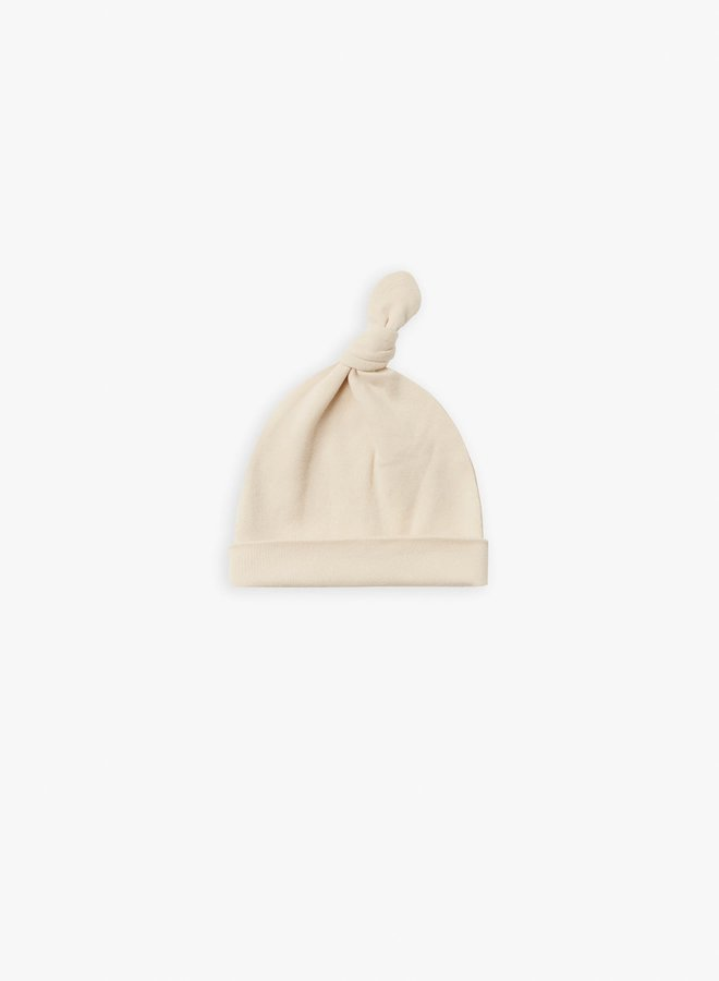 Quincy Mae - knotted baby hat natural