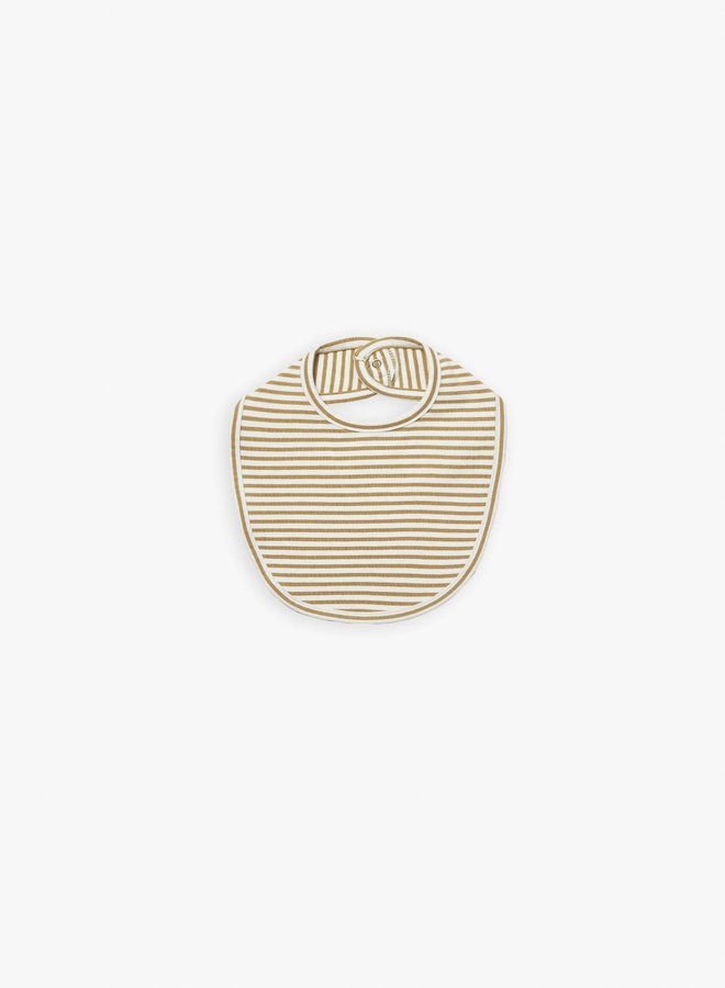 Quincy Mae - snap bib gold-stripe