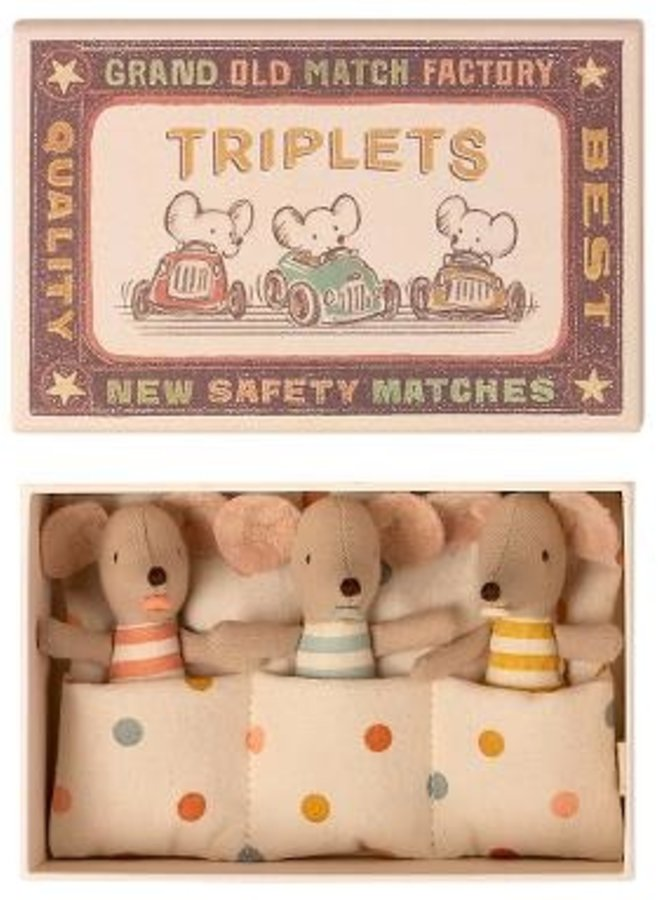 Maileg - Triplets, baby mice in matchbox