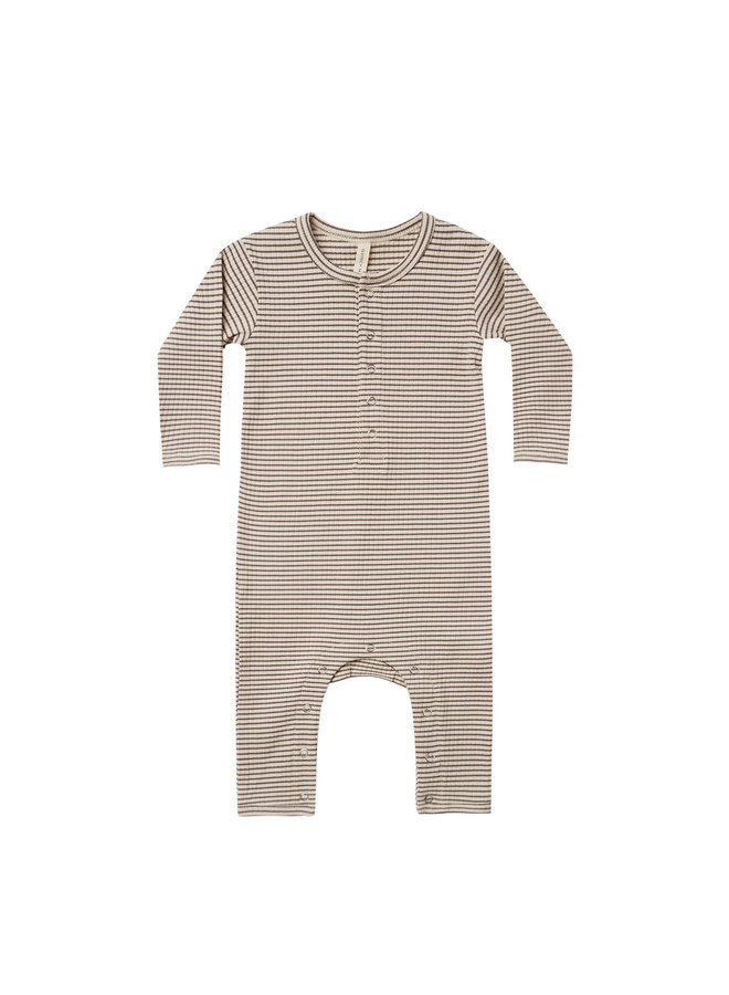 Quincy Mae  - ribbed baby jumpsuit charcoal-stripe