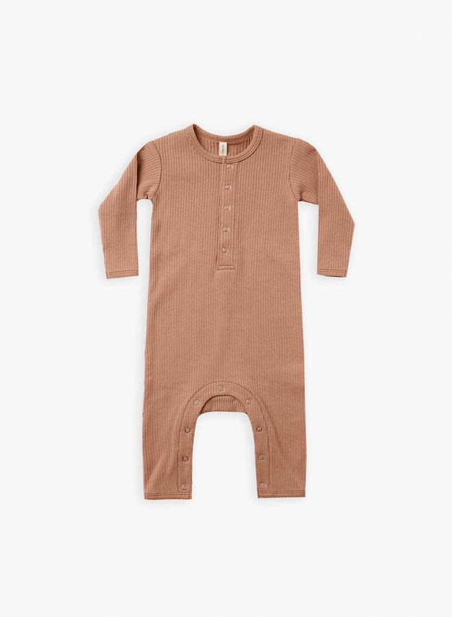Quincy Mae - Ribbed baby jumpsuit terracotta