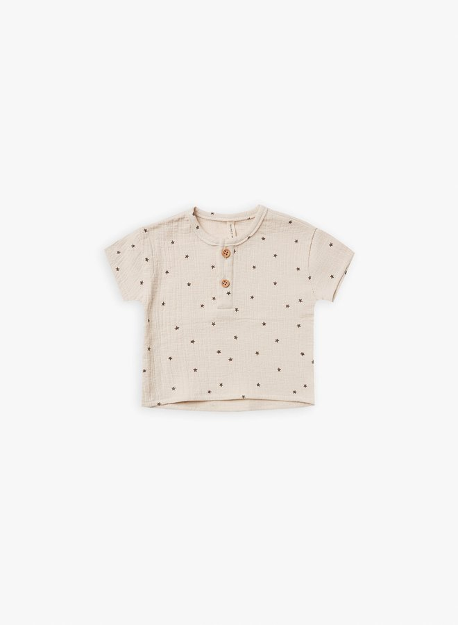 Quincy Mae - woven henry top natural