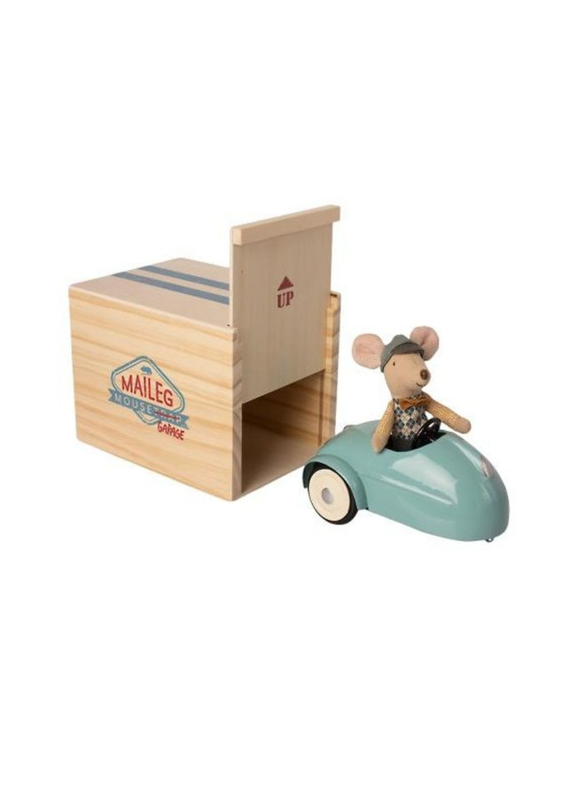 Maileg - mouse car with garage blue
