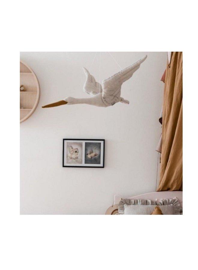 Love Me Decoration - Linnen Ooievaar, beige