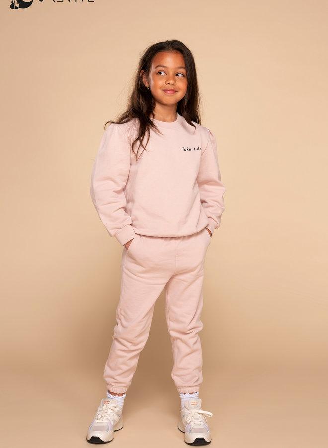 &C x REVIVE - Kids Jogging set GIRL, roze - TAKE IT SLOW