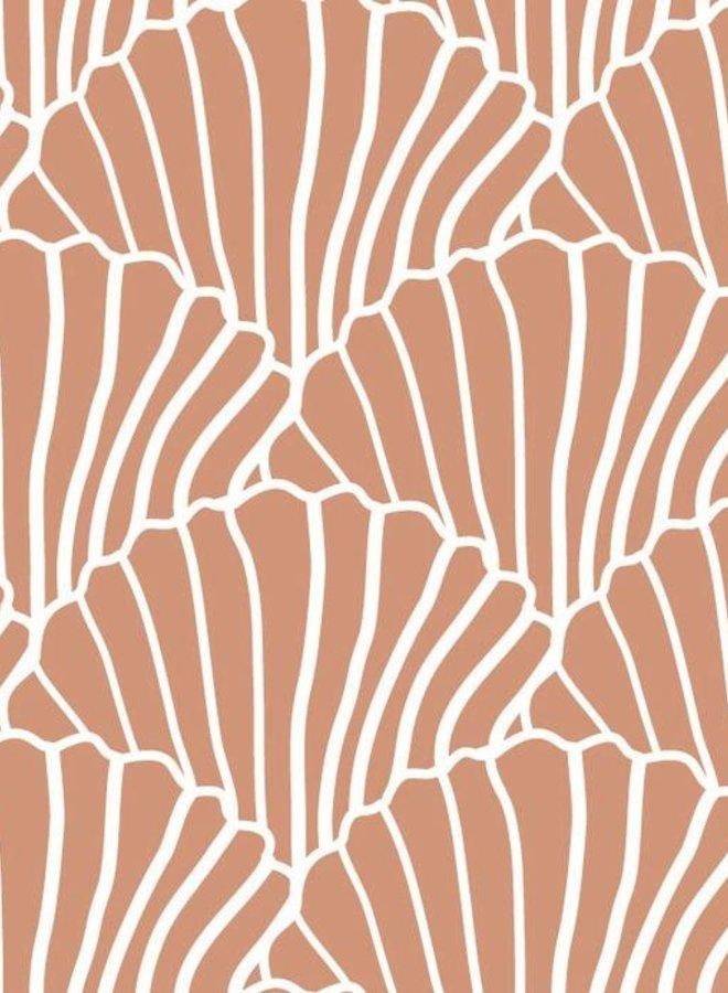 Swedish Linens - hoeslaken sheashells terracotta pink (60x120)