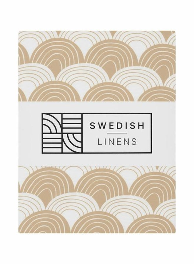 Swedish Linens - hoeslaken rainbows warm sand (70x160)