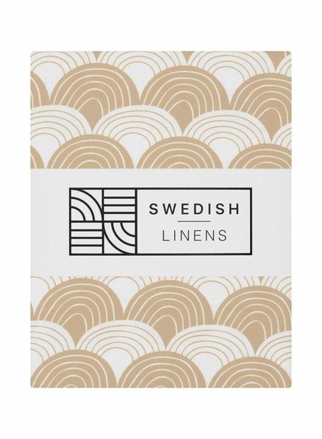 Swedish Linens - hoeslaken rainbows warm sand (70x140)
