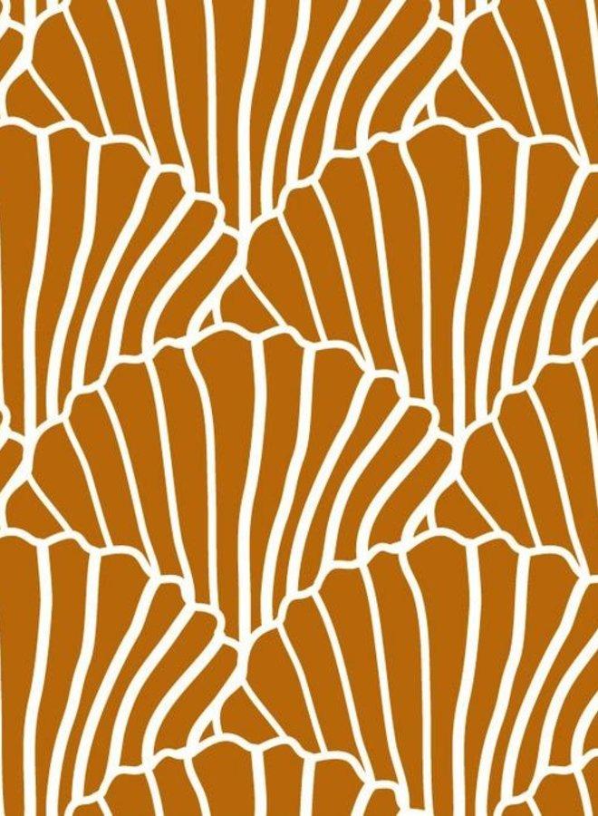 Swedish Linens - seashells cinnamon brown