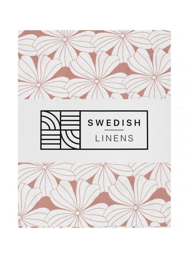Swedish Linens - flowers terracotta pink