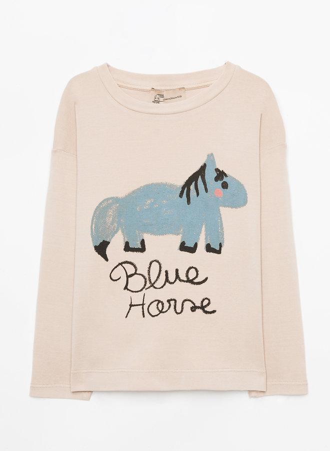 Weekend House Kids - Blue Horse long Tshirt, sand