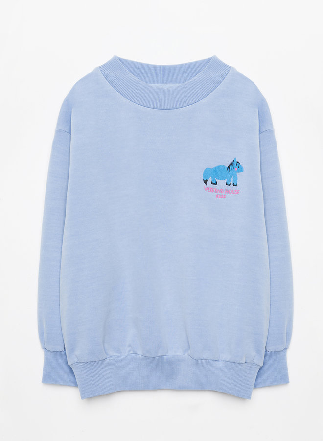 Weekend House Kids - Blue Horse sweatshirt, pastel blue
