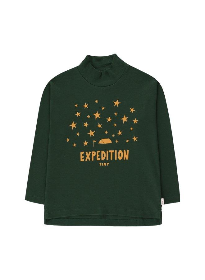 Tiny Cottons - Expedition Tiny Mockneck Tee, dark green/honey