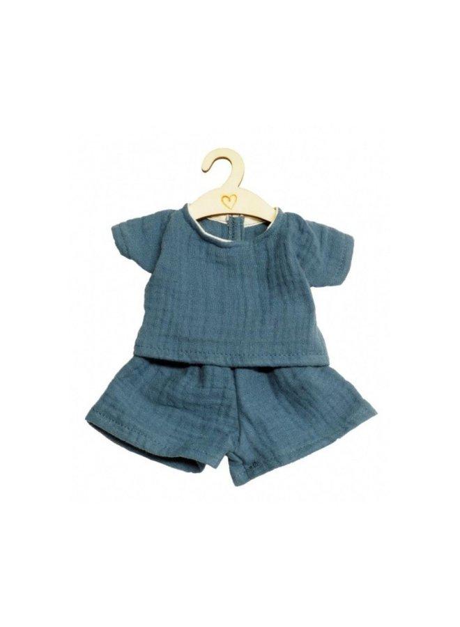 Poppenbroek- en shirt indigo