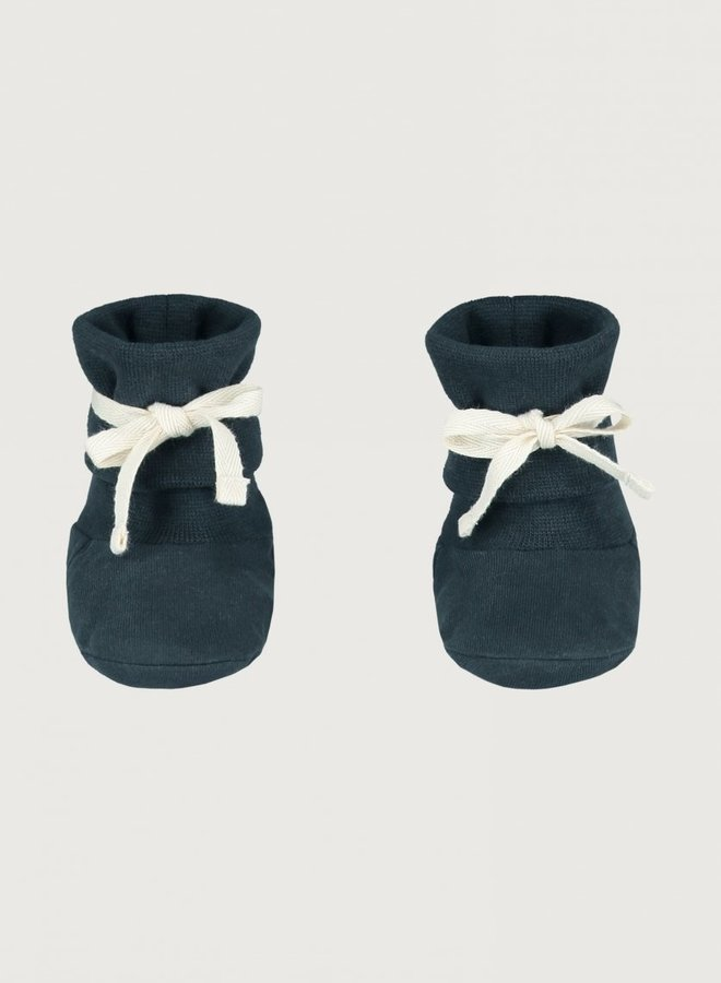 Gray Label - Baby Ribbed Booties 0-6M, blue grey