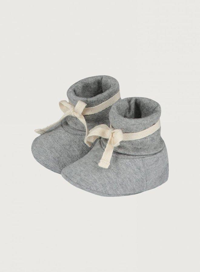 Gray Label - Baby Ribbed Booties 0-6M, grey melange