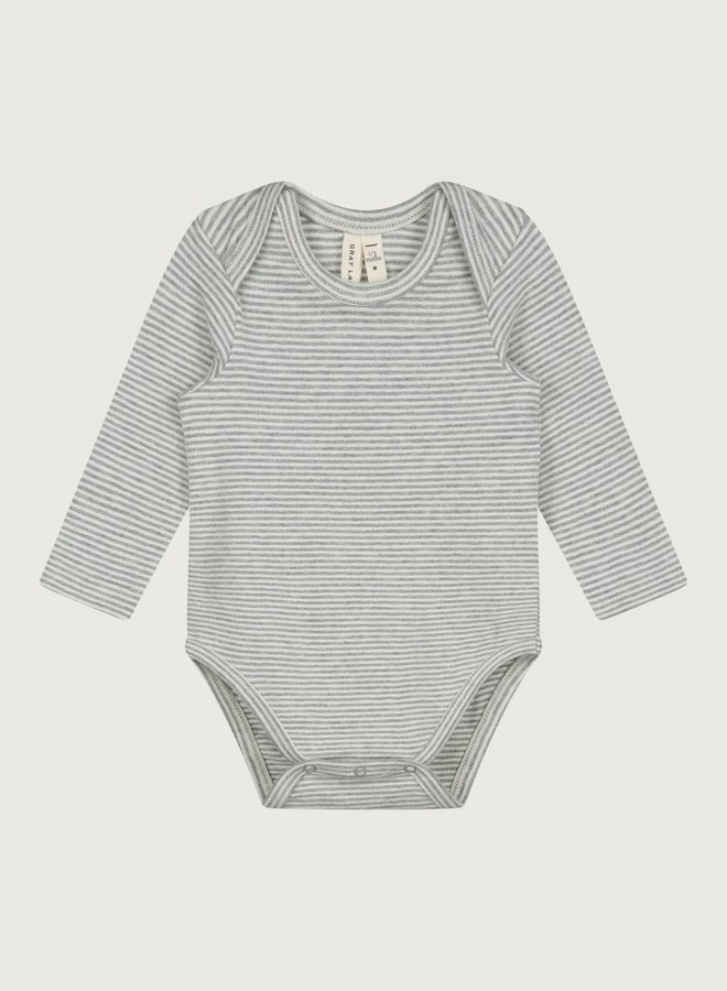 Gray Label - Baby L/S Onesie, grey melange/cream