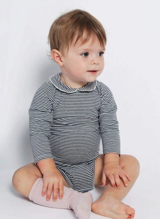 Gray Label - Baby Collar Onesie, nearly black/cream