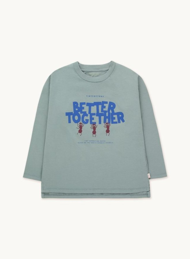 Tiny Cottons - Better Together Tee, foggy blue/ultramarine