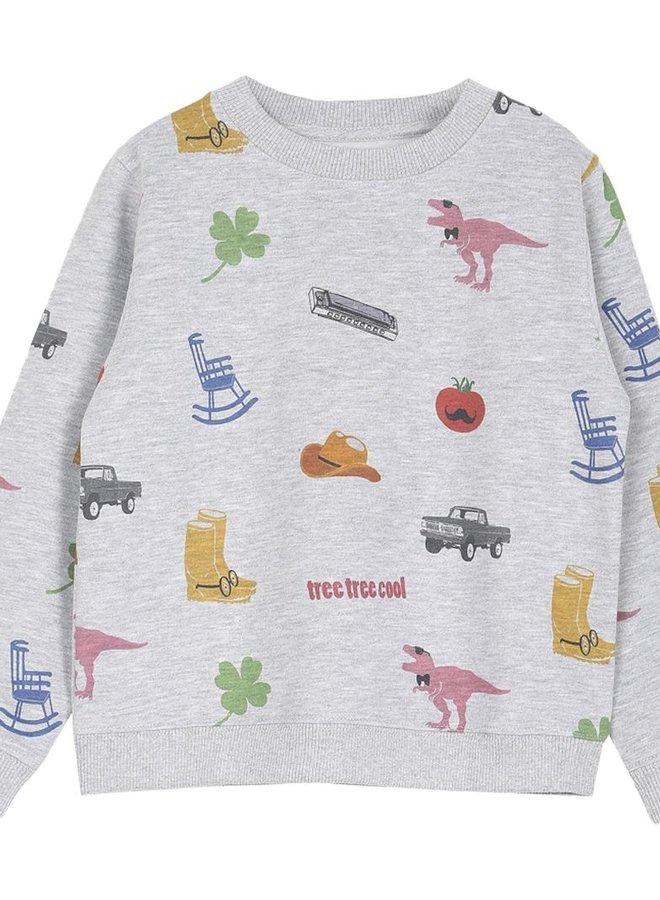 Emile et Ida - Sweatshirt All Over America, gris chine