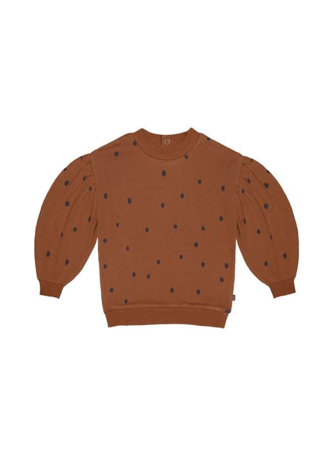 House of Jamie - Balloon Sweater ginger bread dots