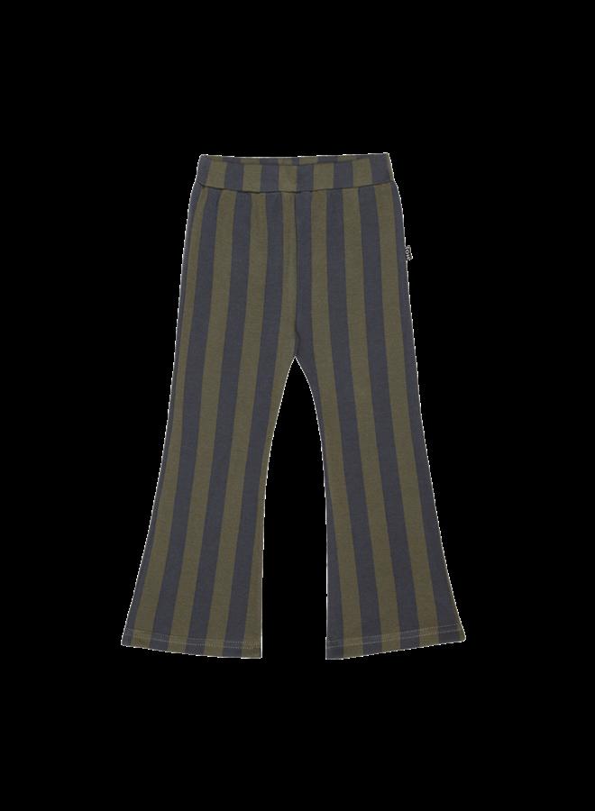 House of Jamie - Flared Pants moss & blue stripes
