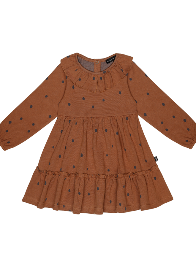 House of Jamie - Collar Layer Dress ginger bread dots