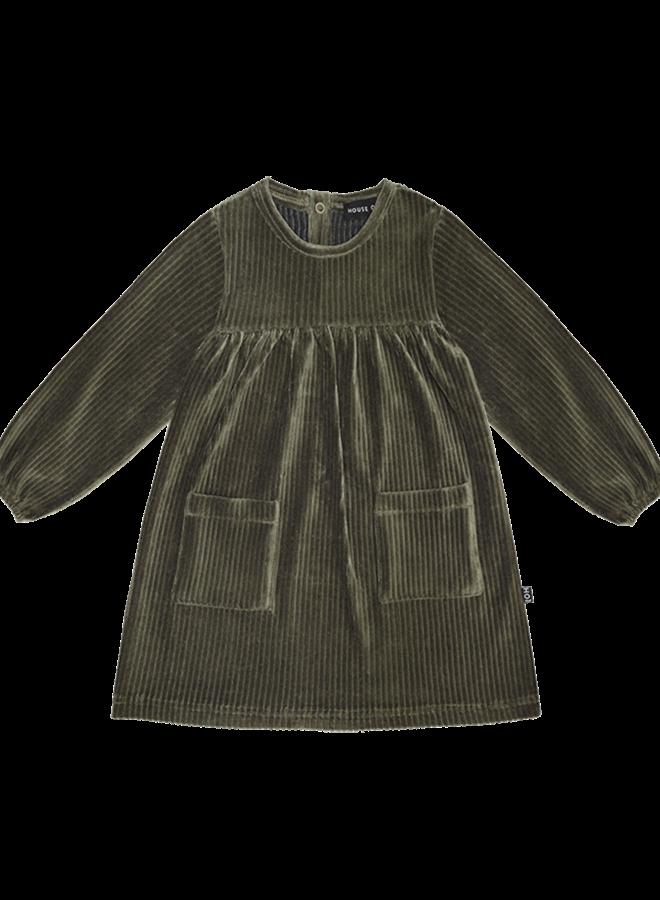 House of Jamie - Pocket Dress moss rib velvet