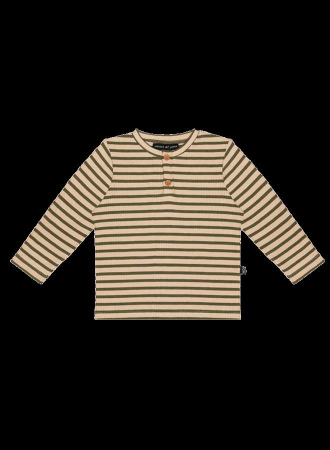 House of Jamie - Rib Long Sleeve Tee moss stripes