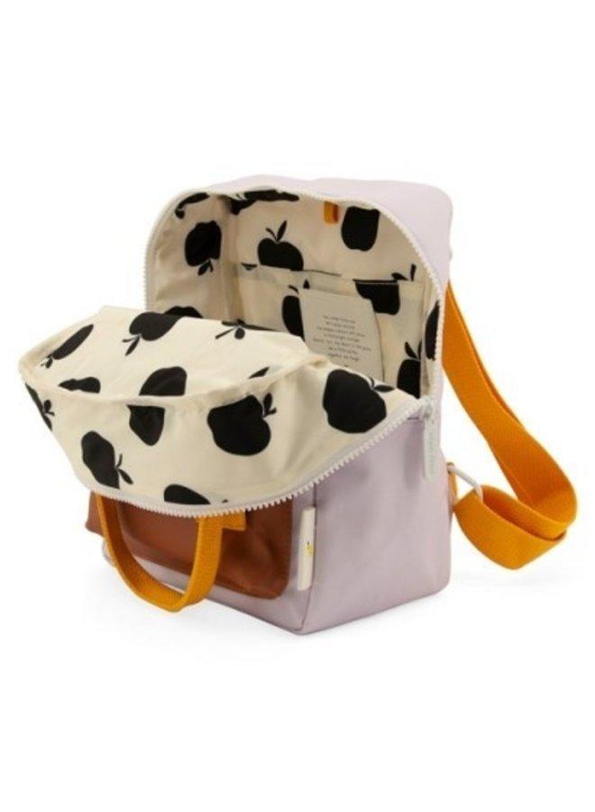 Sticky Lemon Small Backpack - gingham chocolate sundae, daisy yellow, mauve lilac