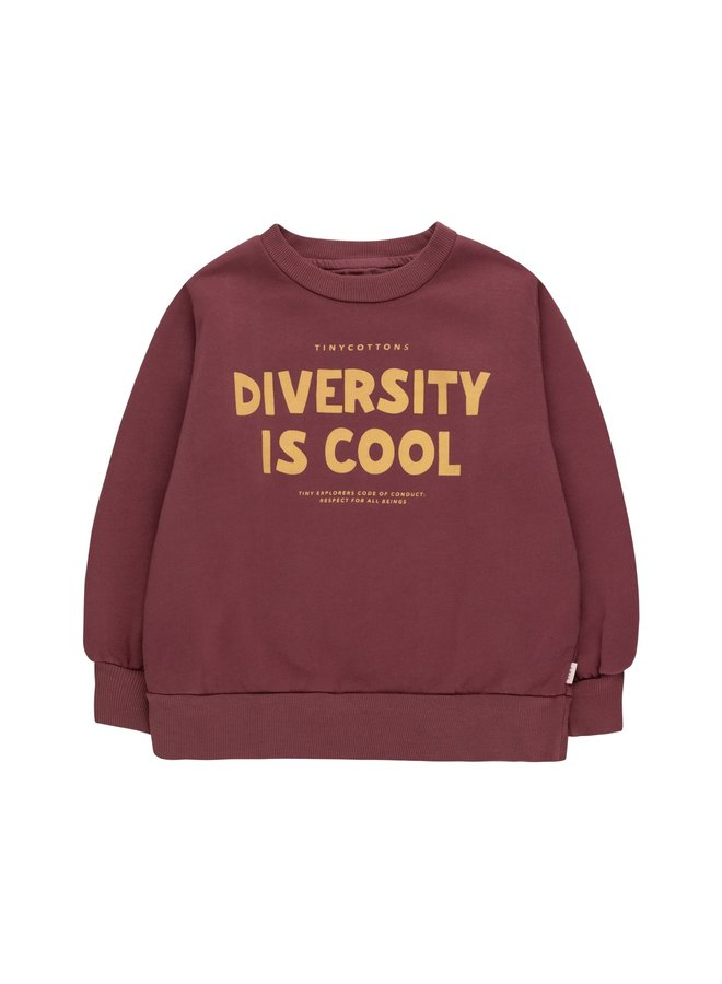 Tiny Cottons - Diversity is Cool Sweatshirt, deep plum/bamboo yellow