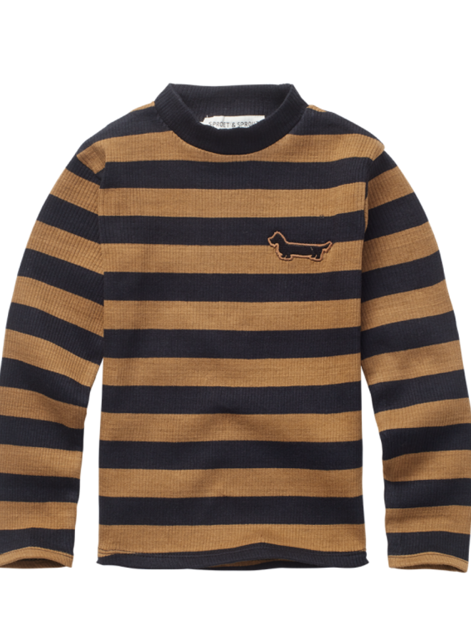 Sproet & Sprout - T-shirt Turtleneck Stripe, mustard/black